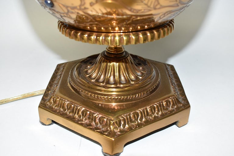 Modern Vintage Dore Bronze Urn Lamp Bird Designs Lapis Set Stones Marbro Lamp Company For Sale