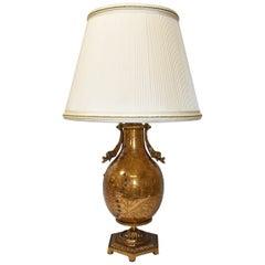 Vintage Dore Bronze Urn Lamp Bird Designs Lapis Set Stones Marbro Lamp Company