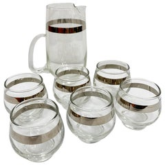 Vintage Dorothy Thorpe Libby Glass Martini Set with Silver Overlay