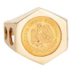 Vintage Dos Pesos 1945 Coin Ring 14k Yellow Gold Men's Signet Jewelry