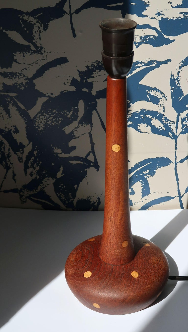 Mid-Century Modern Vintage Dotted Wooden Danish Modern Table Lamp, 1960s For Sale