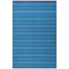 Vintage Double Sided Blue Swedish Kilim. Size: 6 ft 5 in x 9 ft 8 in