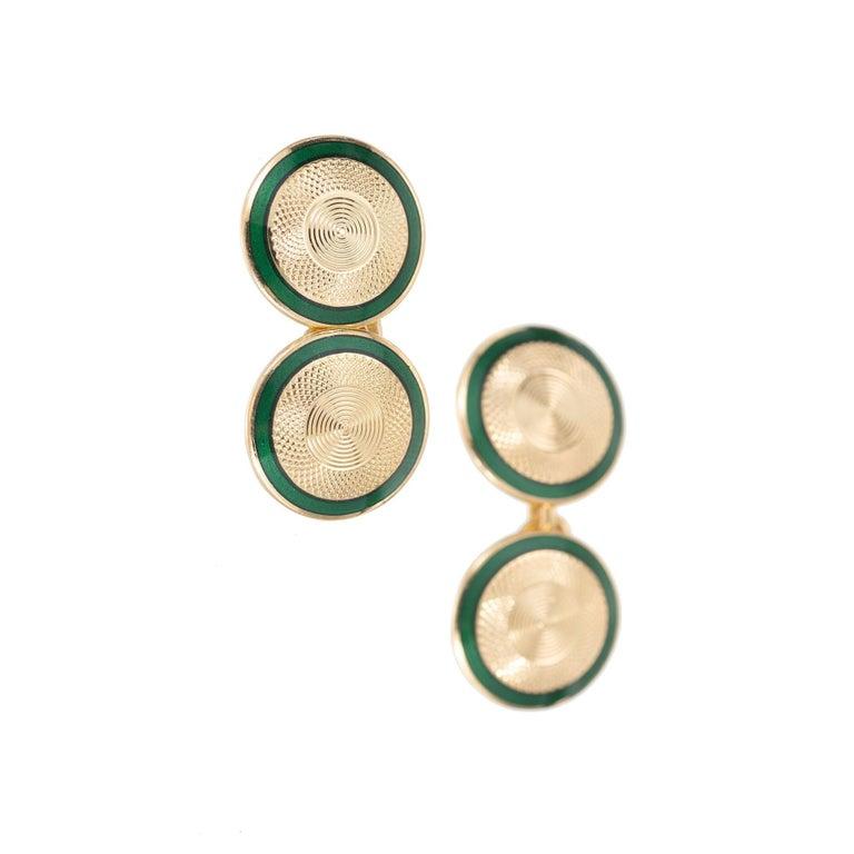 Women's Vintage Double-Sided Green Emerald Cufflinks For Sale