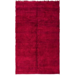 Vintage Double Sided Shaggy Red Moroccan Berber Rug. Size: 6 ft 7 in x 11 ft