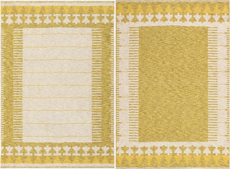 Vintage Swedish double sided rug, country of origin: Sweden / Scandinavia, circa mid-20th century.