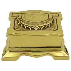 Vintage Double Stamp Box in Solid Brass with Hinged Lid