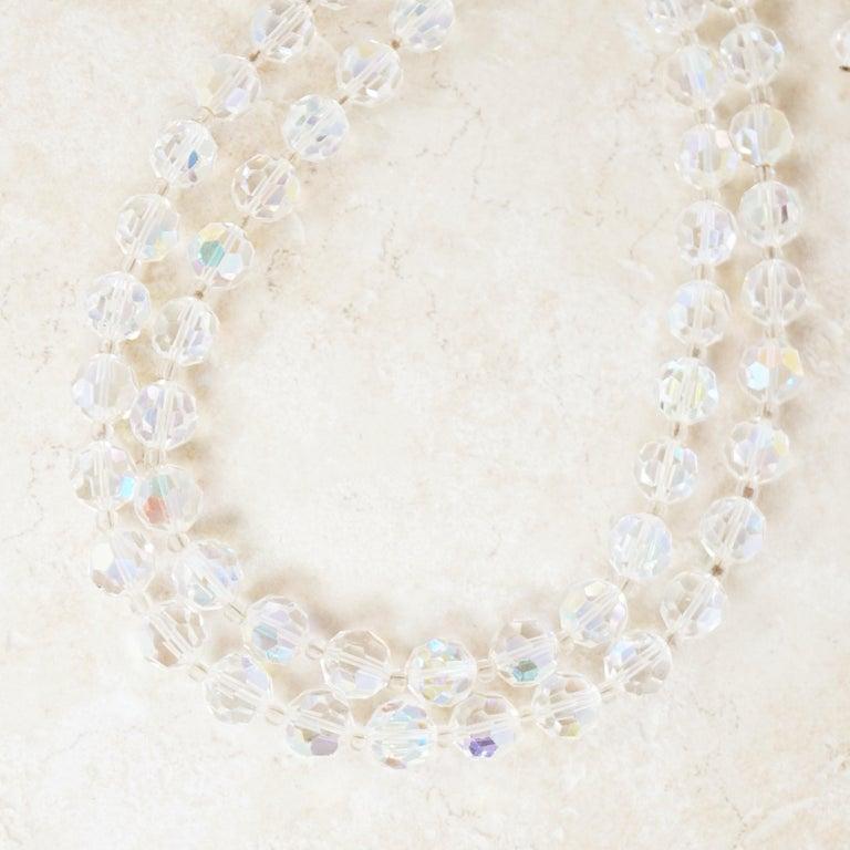 Vintage Circa 1950\u2019s Double Strand Aurora Borealis Graduated Rhinestone Bead Necklace