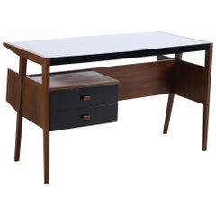 Vintage Doubled Sided Teak Desk with Bookshelf, 1960s