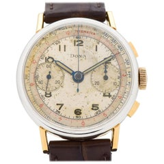 Vintage Doxa 14 Karat Gold Filled and Stainless Steel Chronograph Watch, 1950s