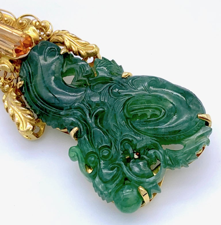 Vintage Dragon Carved Jadeite Topas Ruby 18 Karat Gold Brooch with Pendant For Sale 4