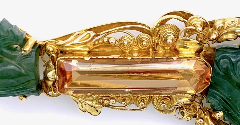 Vintage Dragon Carved Jadeite Topas Ruby 18 Karat Gold Brooch with Pendant For Sale 5
