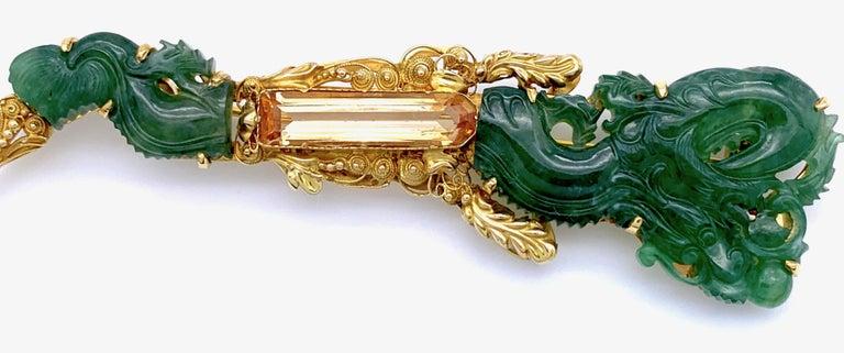 Emerald Cut Vintage Dragon Carved Jadeite Topas Ruby 18 Karat Gold Brooch with Pendant For Sale