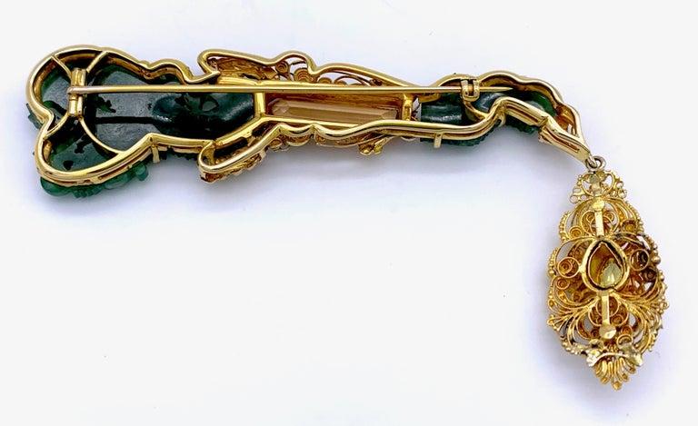 Vintage Dragon Carved Jadeite Topas Ruby 18 Karat Gold Brooch with Pendant For Sale 2