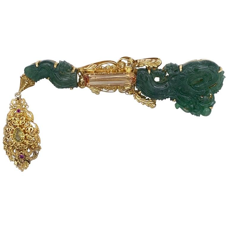 Vintage Dragon Carved Jadeite Topas Ruby 18 Karat Gold Brooch with Pendant For Sale