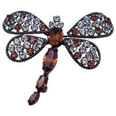 Vintage Dragonfly Czech Brooch With Brown Crystals and Rhinestones 1930's