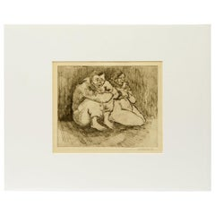 """Vintage Drawing of Husband and Wife, Signed """"Escalera '41"""