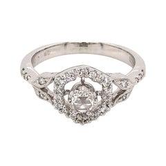 Vintage Dress Microset Milgrain Diamond Ring Set in 18 Karat White Gold