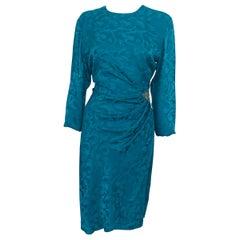 Vintage Dress Silk Turquoise