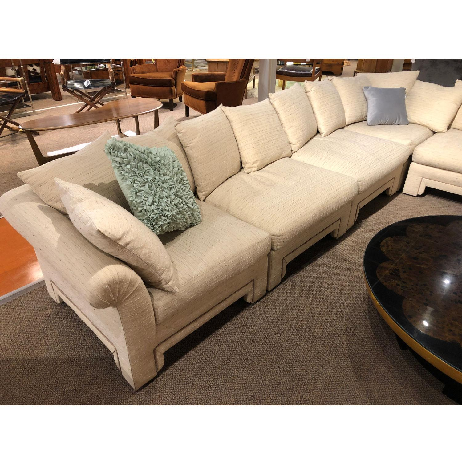 Vintage Drexel Chinoiserie Asian Modern Ivory Sectional Sofa 6 Piece Modular