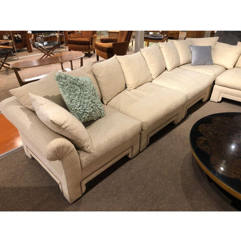 American Vintage Drexel Chinoiserie Asian Modern Ivory Sectional Sofa 6-Piece Modular For Sale