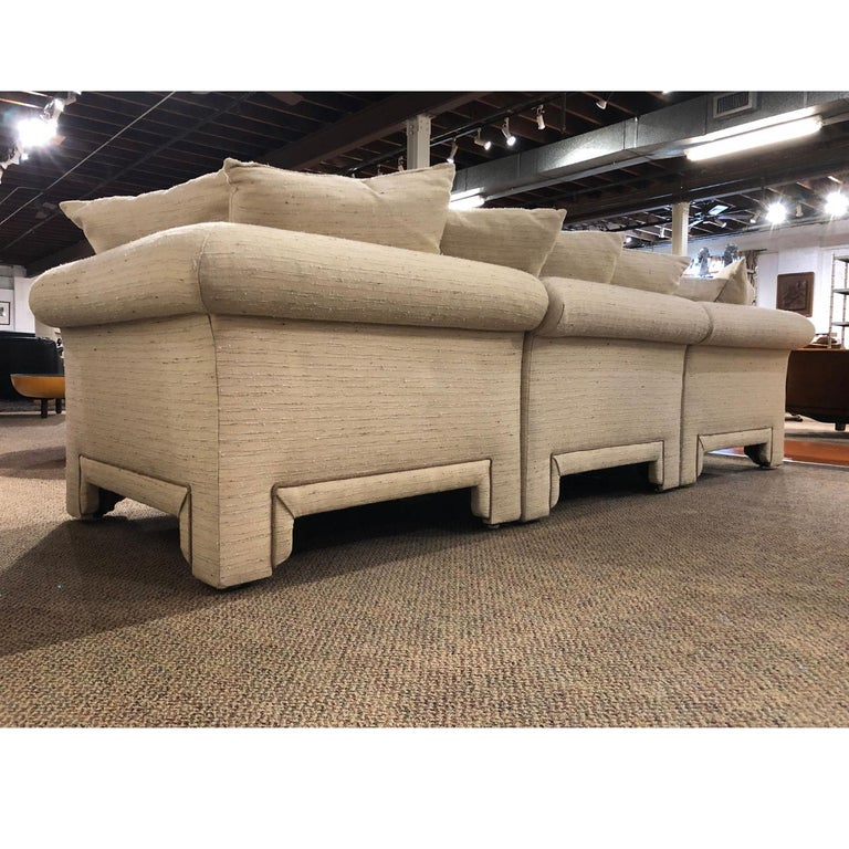Late 20th Century Vintage Drexel Chinoiserie Asian Modern Ivory Sectional Sofa 6-Piece Modular For Sale