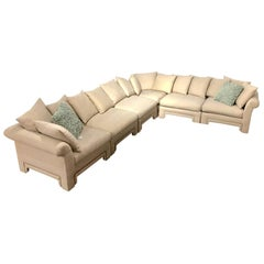 Vintage Drexel Chinoiserie Asian Modern Ivory Sectional Sofa 6-Piece Modular
