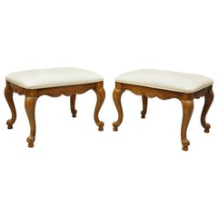 Vintage Drexel French Provincial Oakwood Cabriole Leg Stool Bench, a Pair