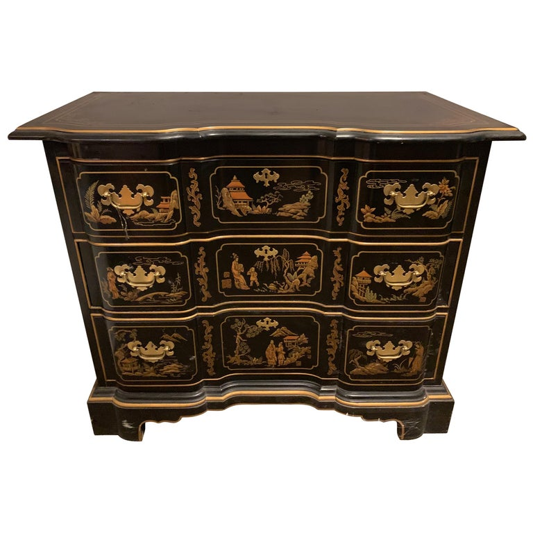 timeless design 69c21 ea706 Vintage Drexel Hand Painted Black Chinoiserie Three-Drawer Dresser or  Nightstand