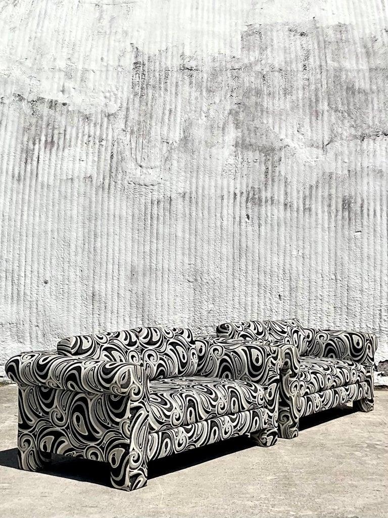 Mid-Century Modern Vintage Dreyfuss Wool Jacquard Swirl Loveseats, a Pair For Sale