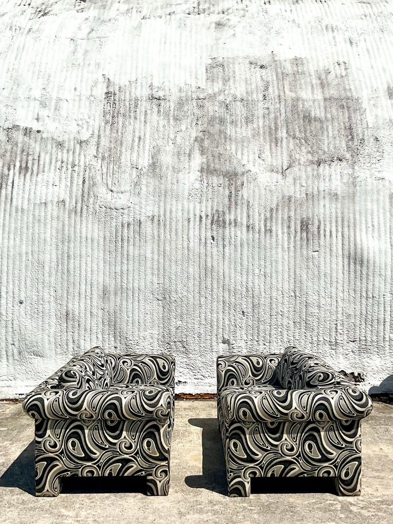 American Vintage Dreyfuss Wool Jacquard Swirl Loveseats, a Pair For Sale