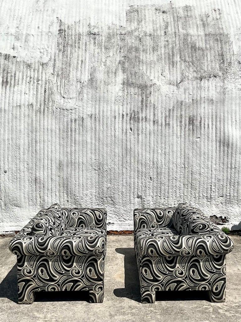 20th Century Vintage Dreyfuss Wool Jacquard Swirl Loveseats, a Pair For Sale