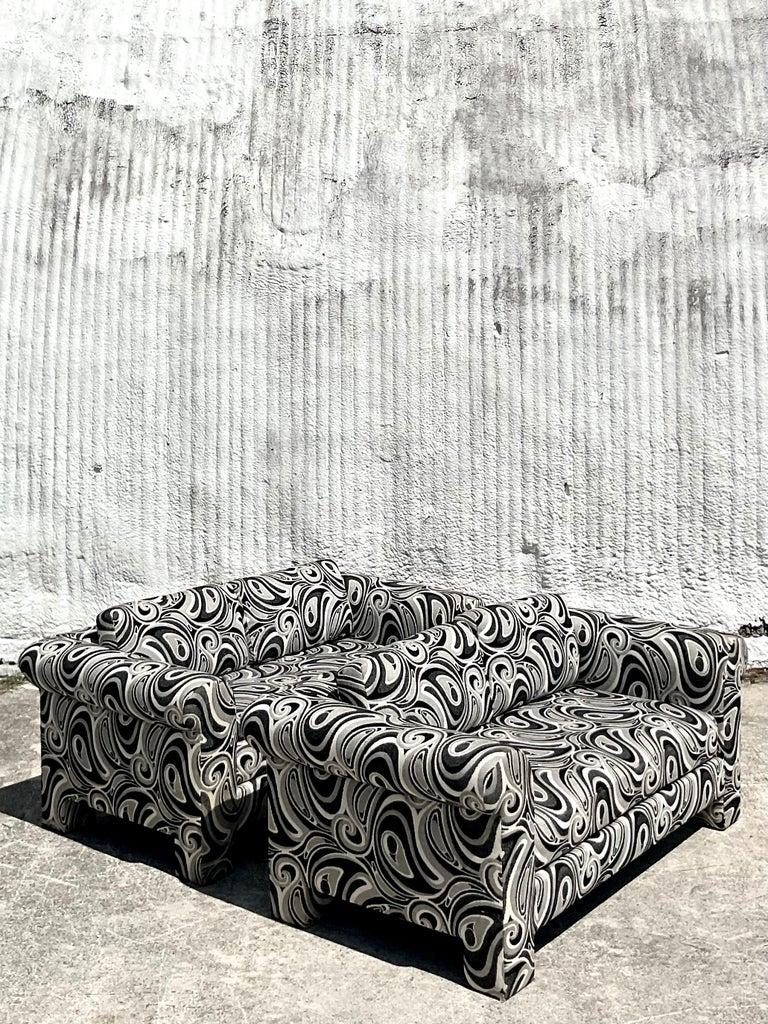 Fabric Vintage Dreyfuss Wool Jacquard Swirl Loveseats, a Pair For Sale