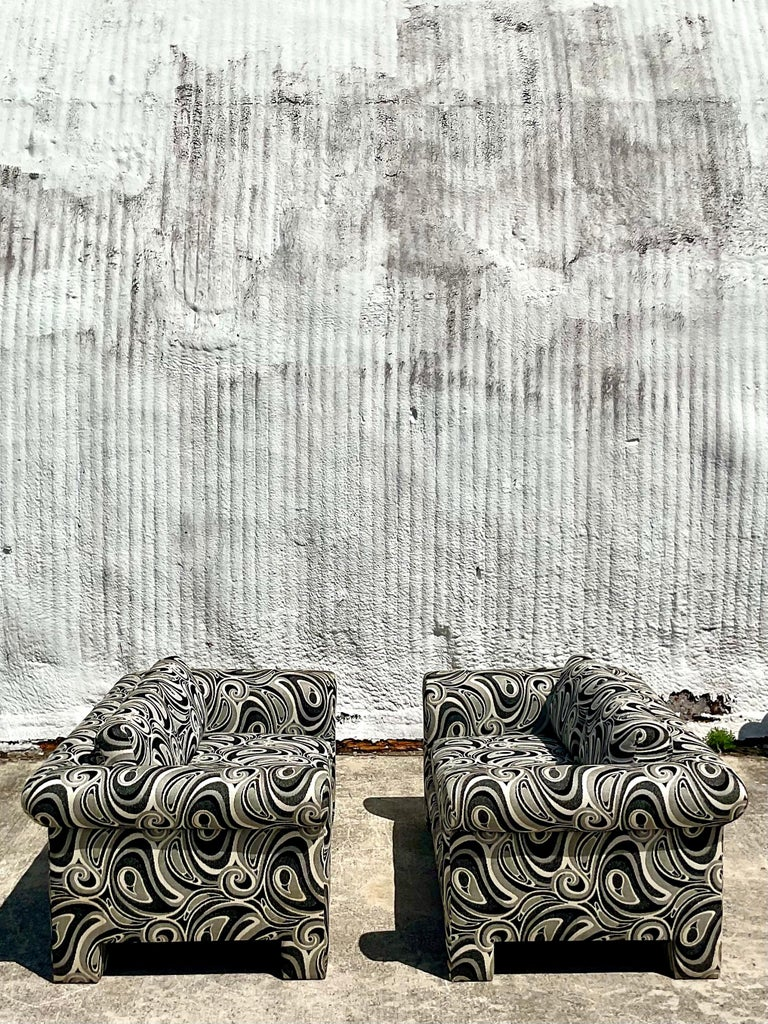 Vintage Dreyfuss Wool Jacquard Swirl Loveseats, a Pair For Sale 1