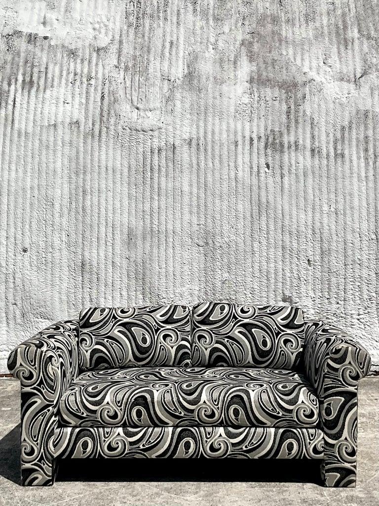 Vintage Dreyfuss Wool Jacquard Swirl Loveseats, a Pair For Sale 2