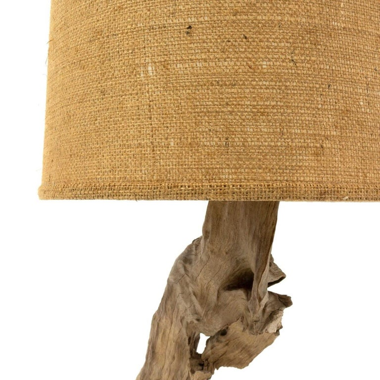 American Vintage Driftwood Lamp with Original Burlap Shade For Sale