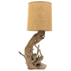 Vintage Driftwood Lamp with Original Burlap Shade