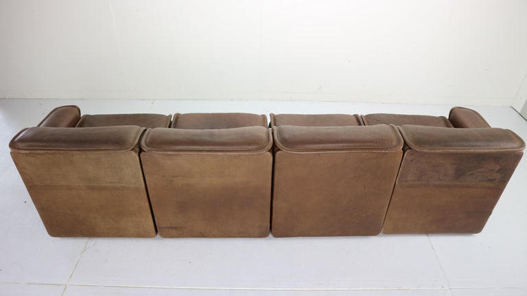 Vintage DS-12 Four-Seat Brown Leather Sofa by De Sede, Switzerland, 1970s For Sale 4