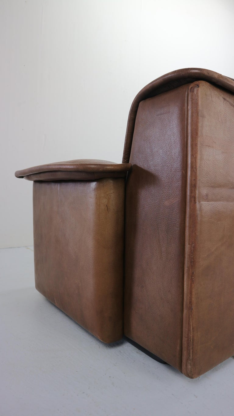 Vintage DS-12 Four-Seat Brown Leather Sofa by De Sede, Switzerland, 1970s For Sale 5