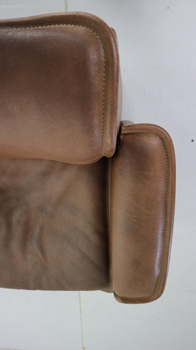 Vintage DS-12 Four-Seat Brown Leather Sofa by De Sede, Switzerland, 1970s For Sale 6