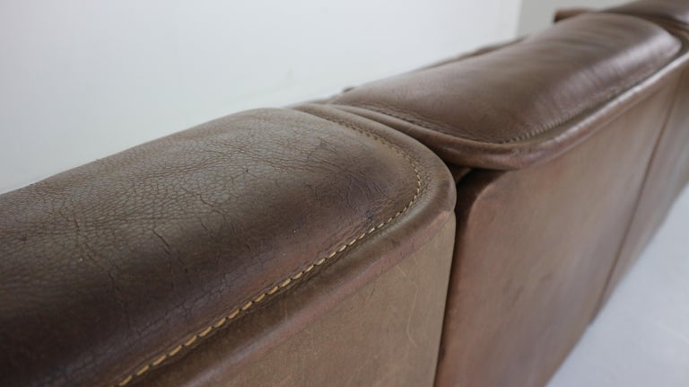 Vintage DS-12 Four-Seat Brown Leather Sofa by De Sede, Switzerland, 1970s For Sale 7