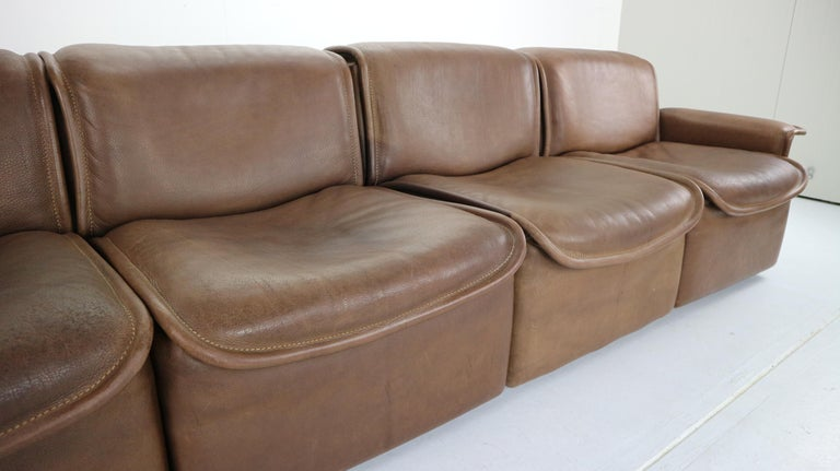 Vintage DS-12 Four-Seat Brown Leather Sofa by De Sede, Switzerland, 1970s For Sale 8