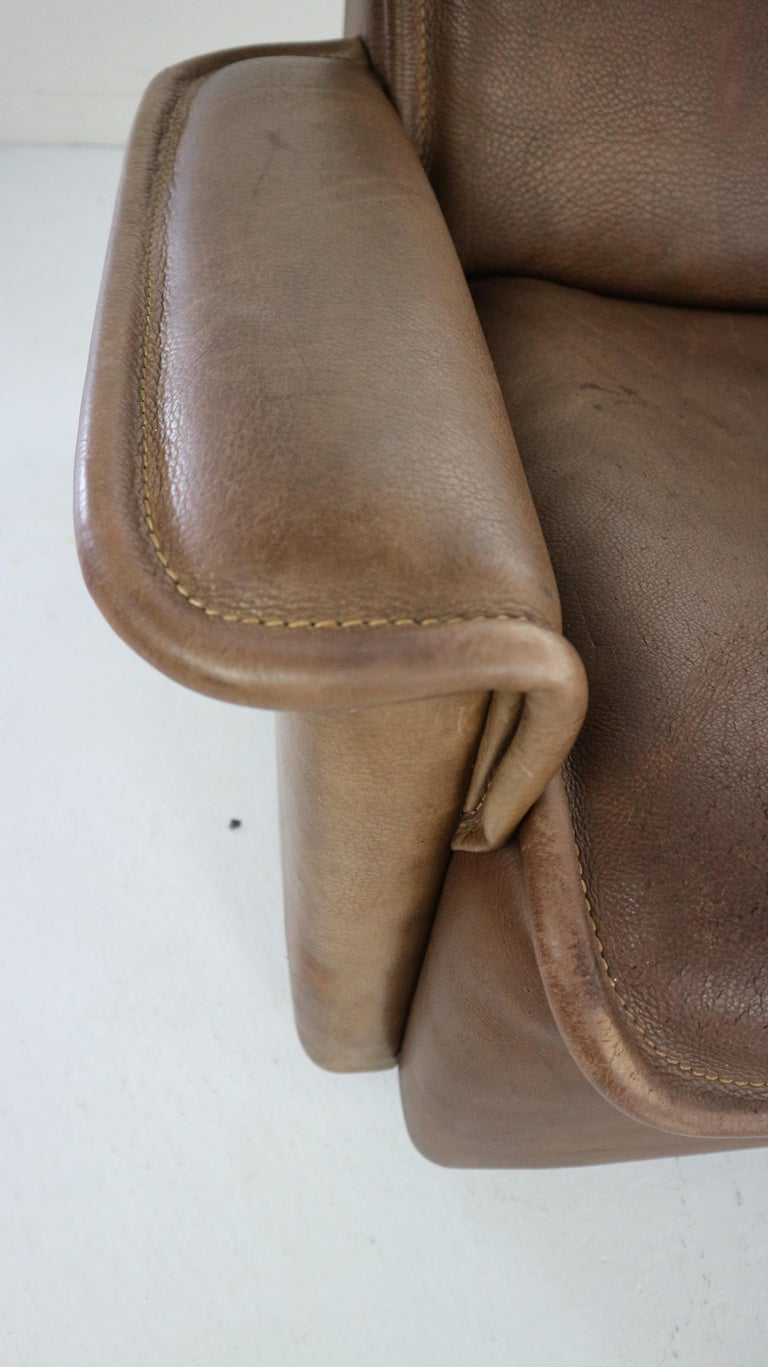 Vintage DS-12 Four-Seat Brown Leather Sofa by De Sede, Switzerland, 1970s For Sale 9