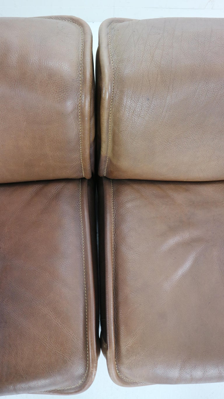 Vintage DS-12 Four-Seat Brown Leather Sofa by De Sede, Switzerland, 1970s For Sale 11