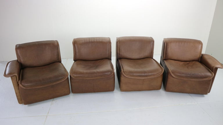 Vintage DS-12 Four-Seat Brown Leather Sofa by De Sede, Switzerland, 1970s For Sale 13