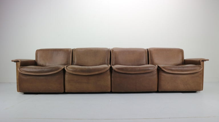 Scandinavian Modern Vintage DS-12 Four-Seat Brown Leather Sofa by De Sede, Switzerland, 1970s For Sale