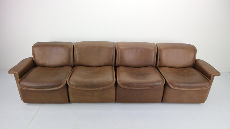 Swiss Vintage DS-12 Four-Seat Brown Leather Sofa by De Sede, Switzerland, 1970s For Sale
