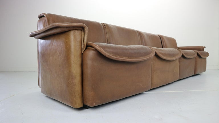 Late 20th Century Vintage DS-12 Four-Seat Brown Leather Sofa by De Sede, Switzerland, 1970s For Sale