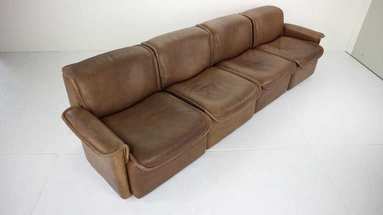 Vintage DS-12 Four-Seat Brown Leather Sofa by De Sede, Switzerland, 1970s For Sale 2