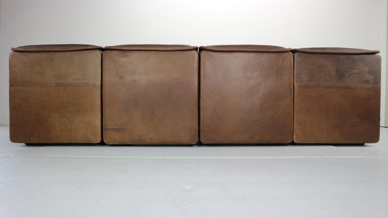 Vintage DS-12 Four-Seat Brown Leather Sofa by De Sede, Switzerland, 1970s For Sale 3