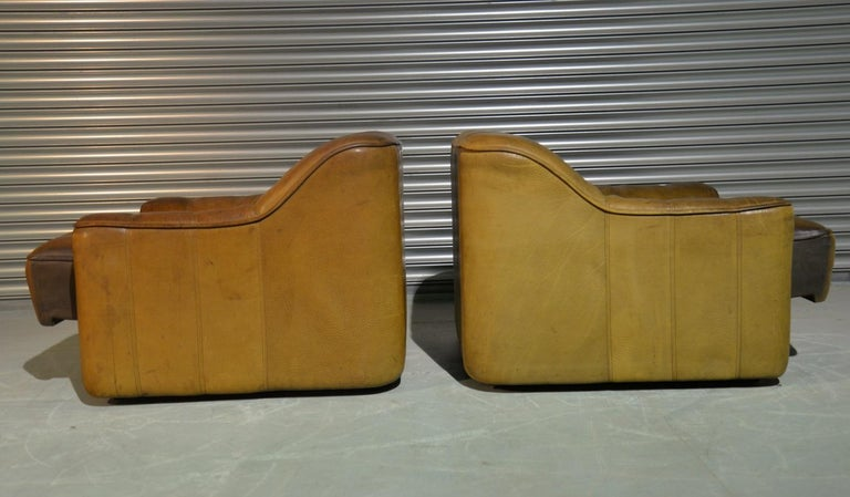 Vintage Ds Sede DS 44 Armchairs with Ottoman, Switzerland 1970s 3